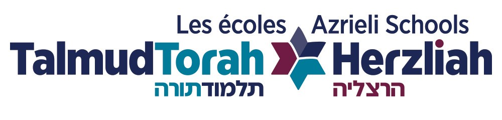 Text in blue English and Hebrew with stylized Star of David logo