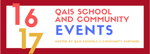 Colourful text announcing QAIS School and Community events