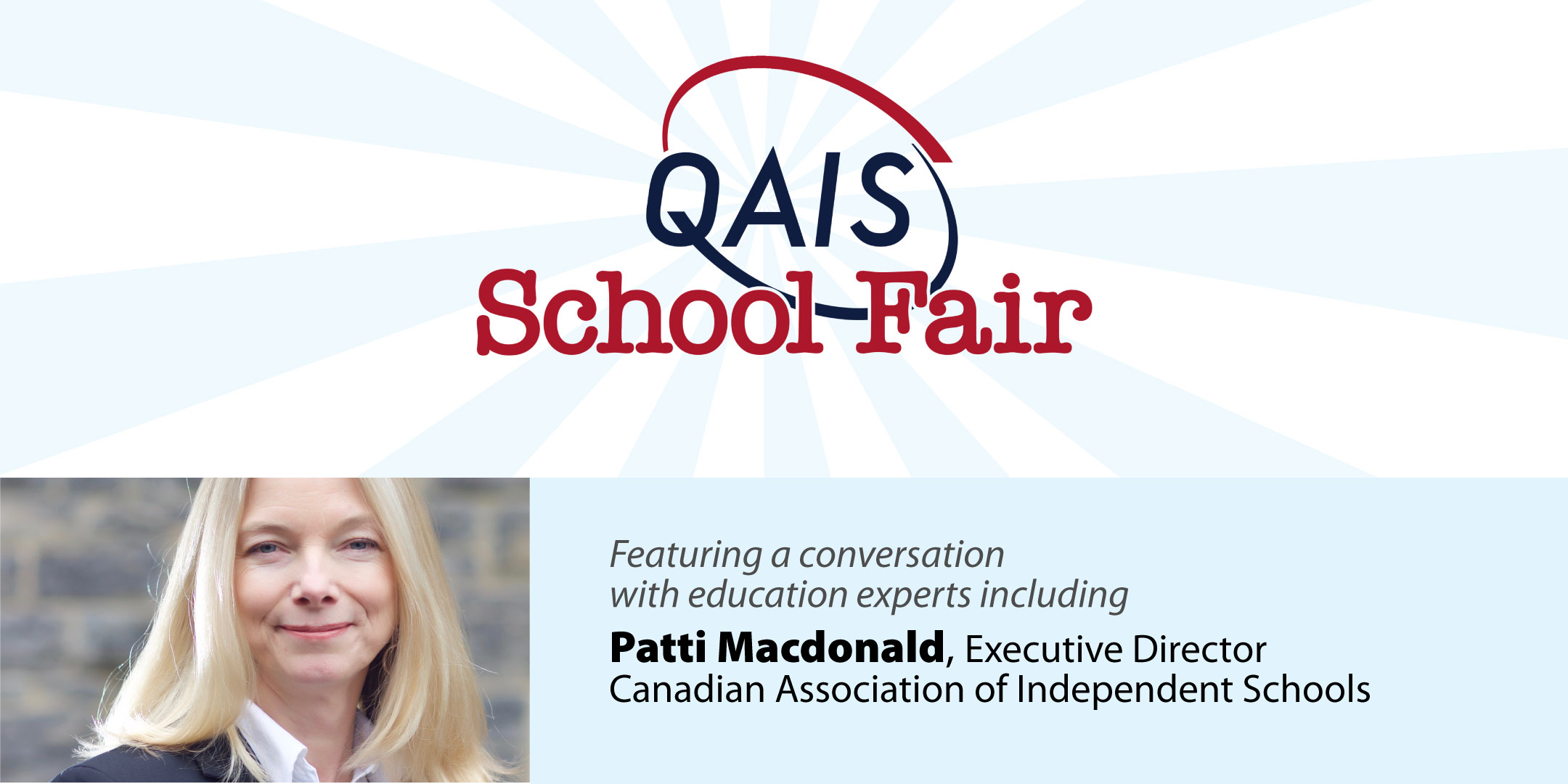 Banner QAIS logo and image of Patti Macdonald, guest speaker